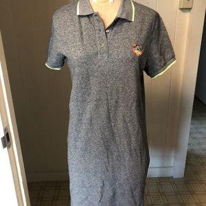 NEW KENZO sz S Knit POLO DRESS Gray TIGER LOGO